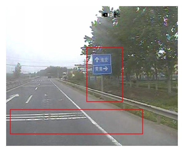 (c) Traffic signs and road surface