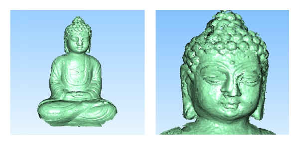 (b) Result of article [8]; the left is the whole 3D data, while the right is the head 3D data enlarged