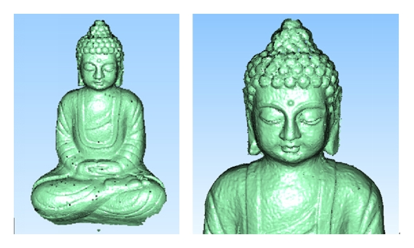 (c) Result of proposed method; the left is the whole 3D data, while the right is the head 3D data enlarged