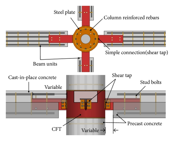 (a) Details of the beam-column joints of the hybrid precast frames