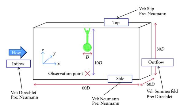 (a) Computational domain with boundary conditions