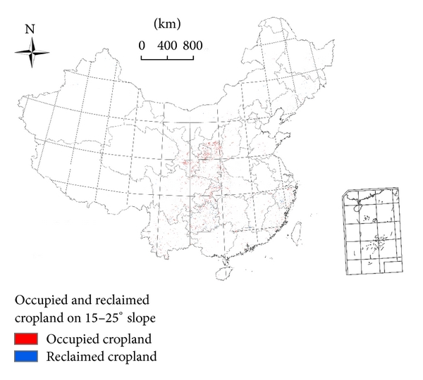 (c) Distribution of occupied and reclaimed cropland on slope with 15–25° from 2000 to 2010