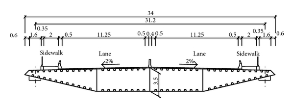 (b) Standard section of steel box beam
