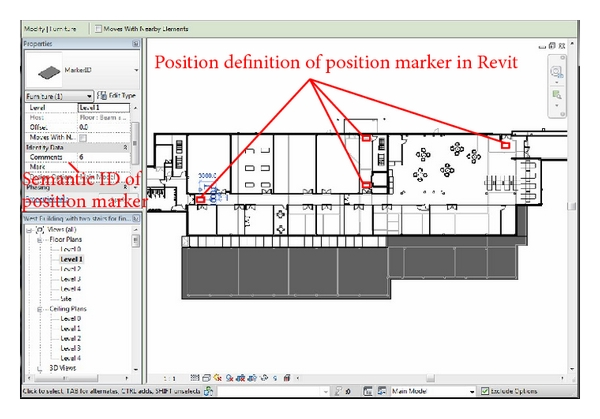 (a) Position markers with their semantic ID set in Revit