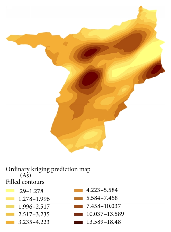 (a) Prediction map of arsenic concentration in soils