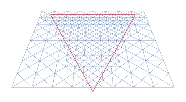(a) First tessellation step (598 triangles)
