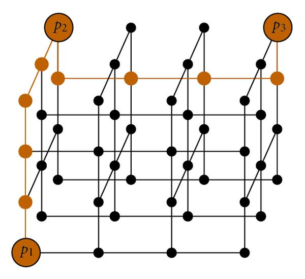 (d) The route after layer assignment